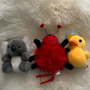 Other - New Set of small plushies koala ,love bug, duck